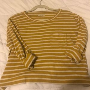 Madewell Yellow & White cropped sweater
